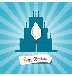 Blue Birthday Background with Cake Silhouette vector image vector image