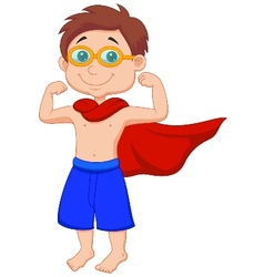 Boy cartoon pretending to be a Super Hero vector image