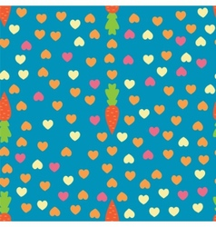Carrot and Heart seamless pattern vector image vector image