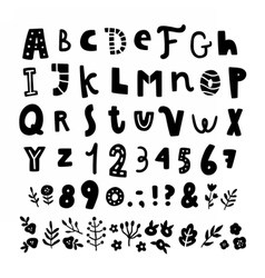 Cute funny hand drawn font and floral elements vector image vector image