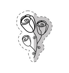 flower roses bouquet cut line vector image vector image
