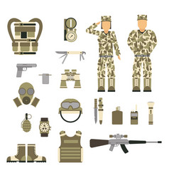 military character weapon guns symbols armor man vector image