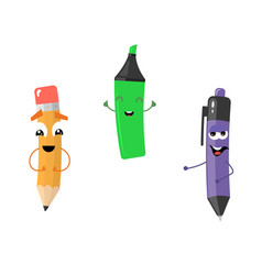 Set of funny characters from pencil marker pen vector