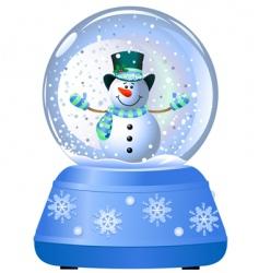 snowman in snow globe vector image
