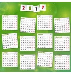 2017 Year Calendar on joyful green background vector image