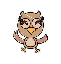 drawing owl animal character vector image
