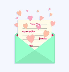 Envelope with Love Letter and Hearts Flying Around vector image