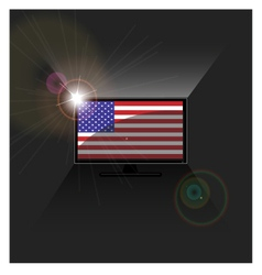 flag American in TV vector image vector image