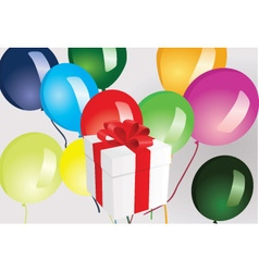 Gift box and ballooons vector image vector image