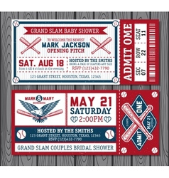 Set of vintage baseball tickets vector image