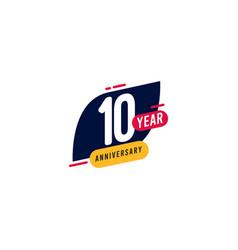 10 years anniversary blue yellow template design vector