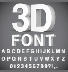 3d alphabet and numbers vector