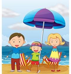 A family at the beach vector