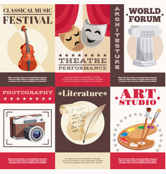 Arts posters set vector