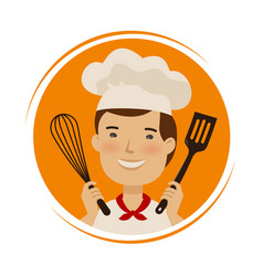 Bakery cuisine logo cute chef in hat with vector