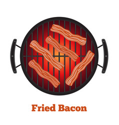barbecue pan with bacon bbq banner flat style vector image