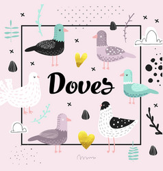 bashower design with cute doves vector image