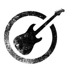 Black ink stamp guitar vector