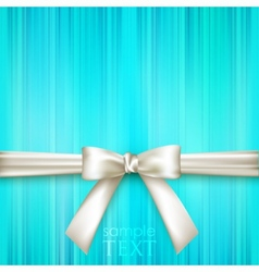 Blue striped background with white bow vector