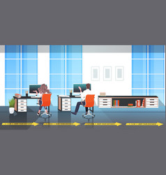 businesspeople sitting at workplace desks keeping vector image