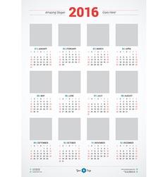 Calendar 2016 Design Template Week Starts Sunday vector image