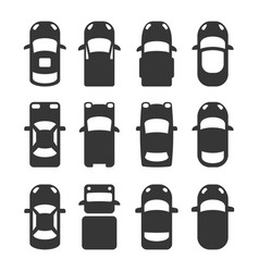 car top view icons set on white background vector image