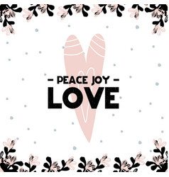 card with calligraphy lettering peace joy love vector image