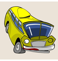 Cartoon character cheerful yellow bus jumped vector