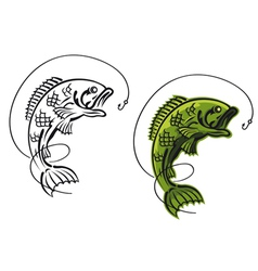 catch a carp fish as a fishing symbol isolated on vector image
