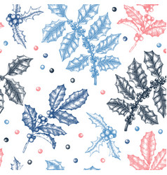 Christmas holly background winter seamless vector
