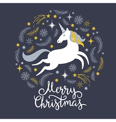 Christmas with unicorn vector