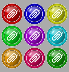 clip to paper icon sign symbol on nine round vector image