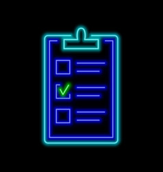 Clipboard with one checked box neon sign bright vector