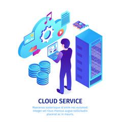 Cloud hosting service background vector