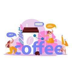Coffee battery caffeine composition vector