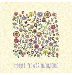 Colorful doodle flowers vector