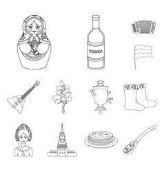 country russia travel outline icons in set vector image