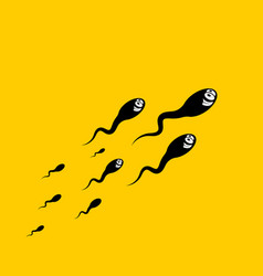 crazy sperm grup on yellow background vector image