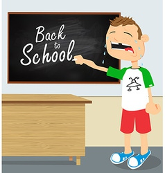 Crying boy in school vector image