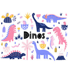 cute dinosaurs collection with their badinos vector image