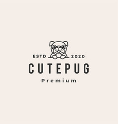 cute pug dog hipster vintage logo icon vector image