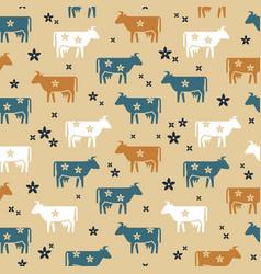 cute seamless pattern farm animals cows vector image