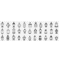 Decorations lamps and shades doodle set vector