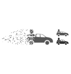 Dissipated pixel halftone car passenger icon vector