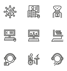 E-learning simple line icons set vector image vector image