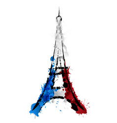 Eiffel tower in paris made of colorful splashes vector