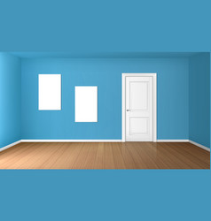 Empty room with closed door and blank posters vector
