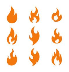 fire flame logo icon set nine vector image