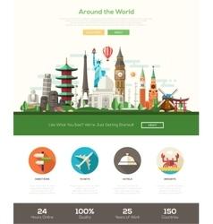 Flat design travel website header banner with vector