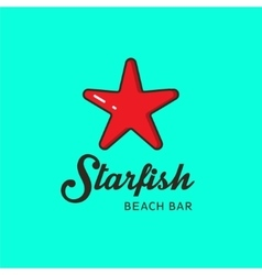 flat logo with image a red starfish vector image